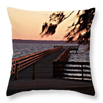 Sundown At Shands Dock Throw Pillow