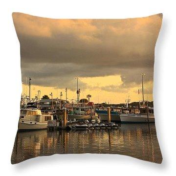 Sundown In The Bay... Throw Pillow by Tammy Schneider