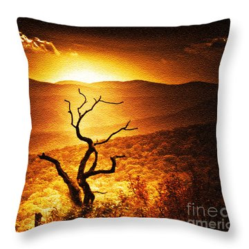 Sundown In The Mountains Throw Pillow
