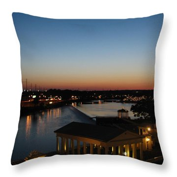 Sundown On The Schuylkill Throw Pillow by Christopher Woods