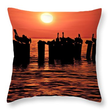 Throw Pillow featuring the photograph Sundown With Pelicans by Julis Simo