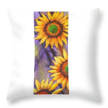 Throw Pillow featuring the painting Sunflower Abstract  by Chrisann Ellis