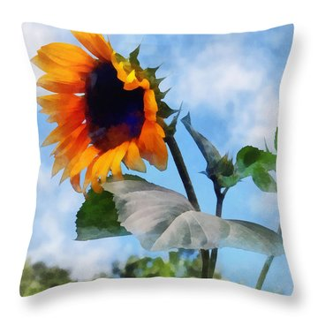 Sunflower Against The Sky Throw Pillow by Susan Savad