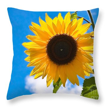 Sunflower And Bee At Work Throw Pillow