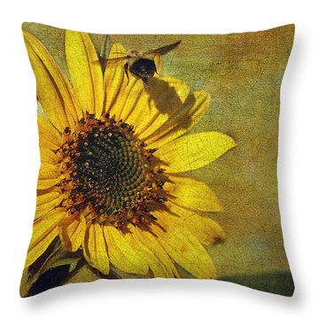 Sunflower And Bumble Bee Throw Pillow