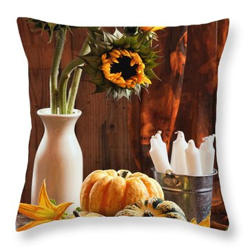 Sunflower And Gourds Still Life Throw Pillow by Amanda Elwell