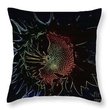 Throw Pillow featuring the digital art Sunflower Art by Erica Hanel