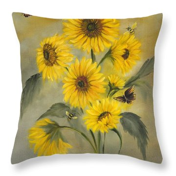 Throw Pillow featuring the painting Sunflower Bouquet by Carol Sweetwood