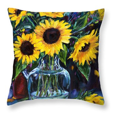 Sunflower Bouquet  Throw Pillow