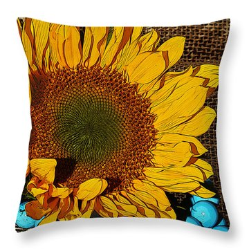 Sunflower Burlap And Turquoise Throw Pillow by Phyllis Denton