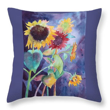 Throw Pillow featuring the painting Sunflower Color by Nancy Jolley