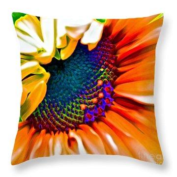 Sunflower Crazed Throw Pillow by Gwyn Newcombe