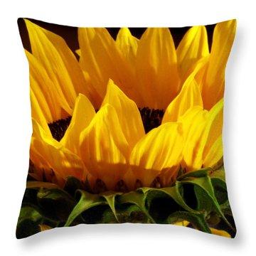 Sunflower Crown Throw Pillow by Deborah  Crew-Johnson