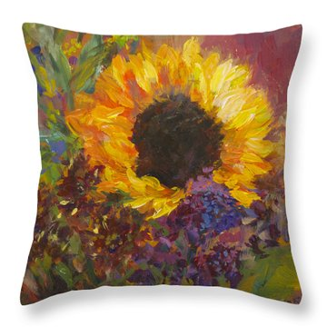 Sunflower Dance Original Painting Impressionist Throw Pillow