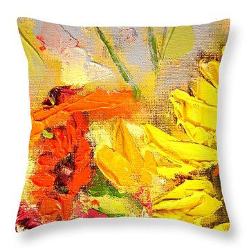 Throw Pillow featuring the painting Sunflower Detail by Ana Maria Edulescu
