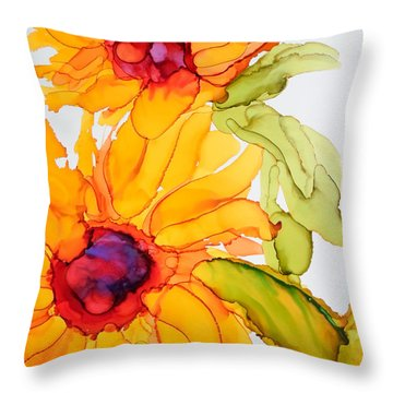 Sunflower Duo Throw Pillow by Vicki  Housel