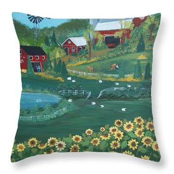 Throw Pillow featuring the painting Sunflower Farm by Virginia Coyle
