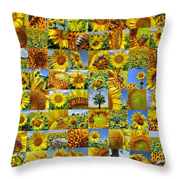 Sunflower Field Collage In Yellow Throw Pillow
