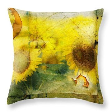 Sunflower Grunge Throw Pillow