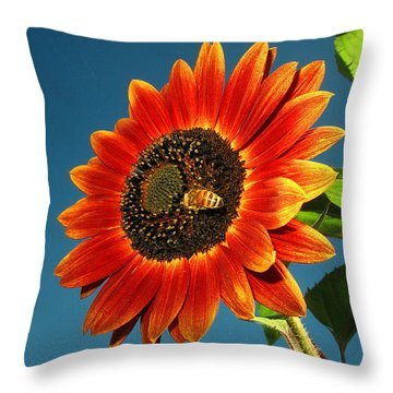 Throw Pillow featuring the photograph Sunflower Honey Bee by Joyce Dickens