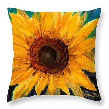 Sunflower II Throw Pillow by Karen Mattson