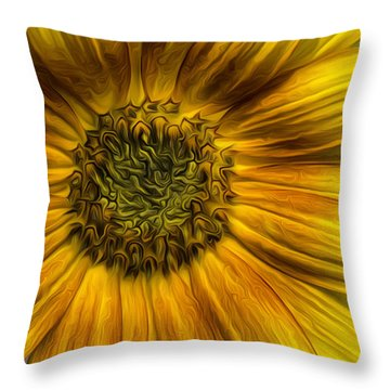Sunflower In Oil Paint Throw Pillow