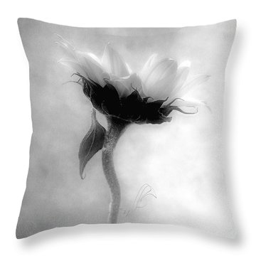 Sunflower In Profile Throw Pillow by Louise Kumpf