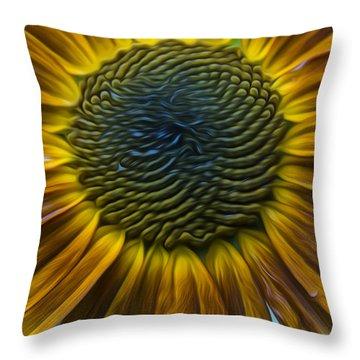 Sunflower In Rain Throw Pillow