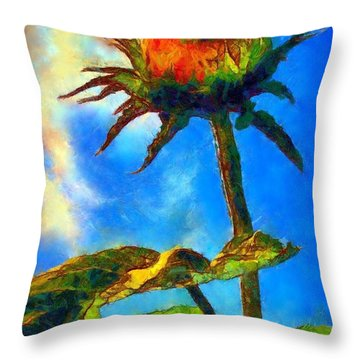 Sunflower - It's A Glorious Day She Said. Throw Pillow by Janine Riley