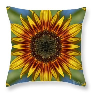 Sunflower Kaleidoscope Throw Pillow by Cindi Ressler