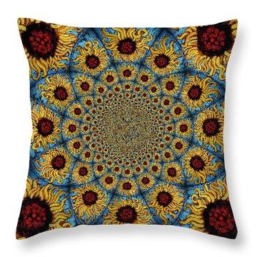 Sunflower Kaleidoscope Mandela Throw Pillow by Genevieve Esson