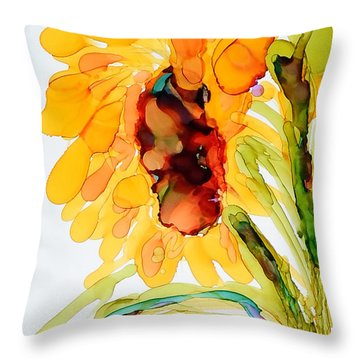 Sunflower Left Face Throw Pillow