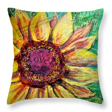 Throw Pillow featuring the painting Sunflower Love  by Lisa Fiedler Jaworski