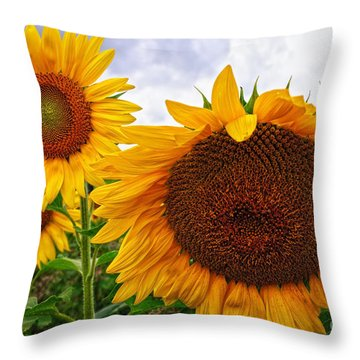 Sunflower Mama And Her Daughters  Throw Pillow