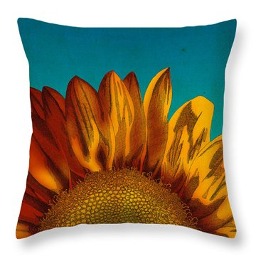 Throw Pillow featuring the drawing Sunflower by Meg Shearer