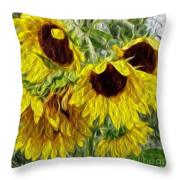 Throw Pillow featuring the photograph Sunflower Morn  by Ecinja Art Works