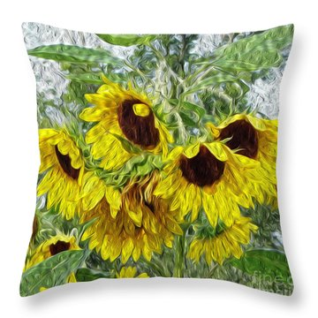 Throw Pillow featuring the photograph Sunflower Morn II by Ecinja Art Works