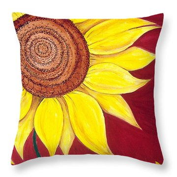 Sunflower On Red Throw Pillow