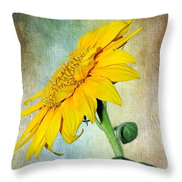 Sunflower On Textured Canvas Throw Pillow by Kaye Menner
