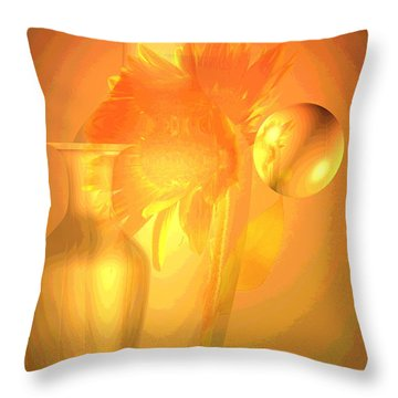 Sunflower Orange With Vases Posterized Throw Pillow by Joyce Dickens