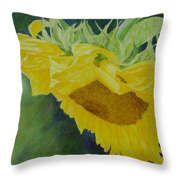 Sunflower Original Oil Painting Colorful Bright Sunflowers Art Floral Artist K. Joann Russell  Throw Pillow
