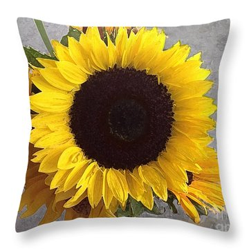 Sunflower Photo With Dry Brush Filter Throw Pillow