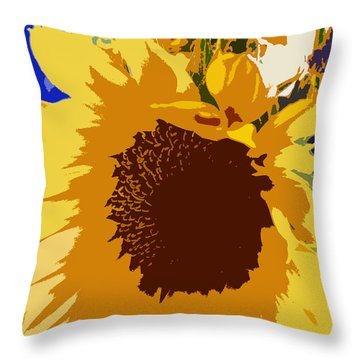 Sunflower Pop Throw Pillow by Colleen Kammerer