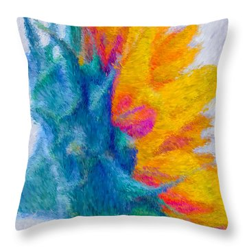 Sunflower Profile Impressionism Throw Pillow by Heidi Smith