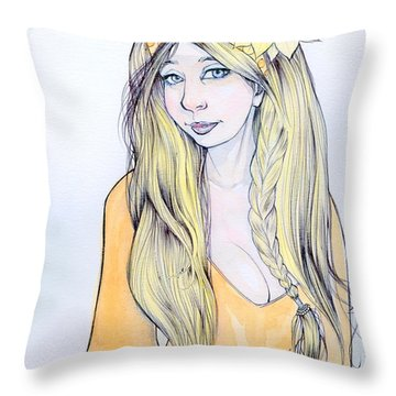Sunflower Sara Throw Pillow by Jimmy Adams