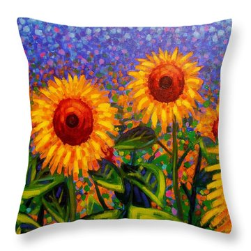 Sunflower Scape Throw Pillow by John  Nolan