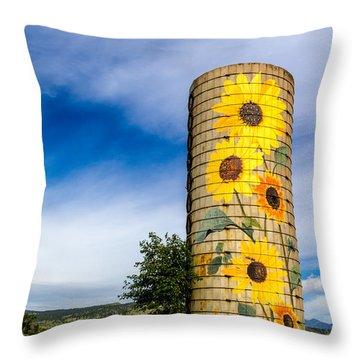 Sunflower Silo Throw Pillow by Teri Virbickis