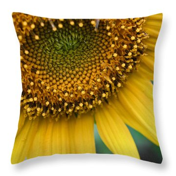 Sunflower Smiles Throw Pillow by Julie Andel