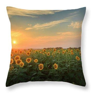 Sunflower Sundown Throw Pillow by Bill Wakeley