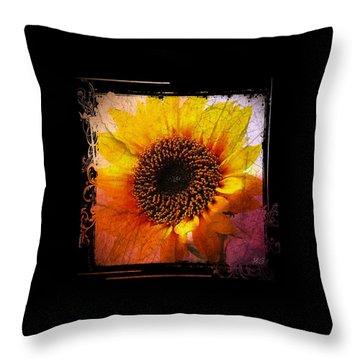 Throw Pillow featuring the digital art Sunflower Sunset - Art Nouveau  by Absinthe Art By Michelle LeAnn Scott
